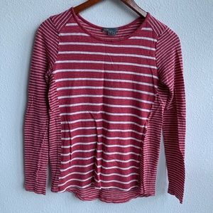Vince   Red Striped Long Sleeve 100% Linen   S